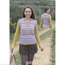7122 sirdar country style dk fairisle style tank top knitting