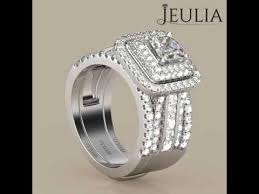 Jeulia Wedding Rings by Jeulia Halo Princess Cut Created White Sapphire Enhancer Wedding
