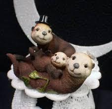 otter cake topper sea otter family child wedding cake topper