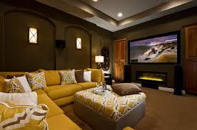 Yellow Sectional Sofa Home Theater With Wall Sconces And Yellow Sectional Sofa The