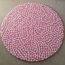 light pink wool rug felt ball rug in pink light pink white sand round