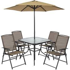 Patio Dining Set With Umbrella Best Choice Products 6 Outdoor Folding Patio Dining Set W