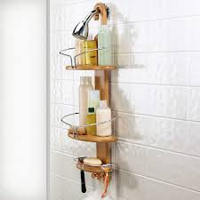 Shower Accessories Bathroom Gorgeous Brown Modern Wood Floating Shower Caddy And