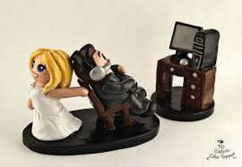 gamer cake topper custom made computer gaming and groom wedding cake topper