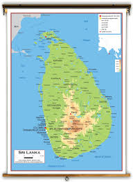 Asia Physical Map by Sri Lanka Physical Educational Wall Map From Academia Maps