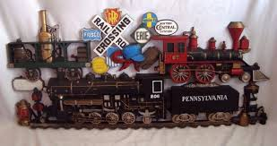Homco Home Interiors by Vtg Huge Burwood 1973 Pennsylvania Railroad Train Plaque 502 Homco