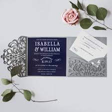 wedding invitations blue graceful navy blue floral silver pocket laser cut wedding