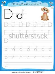 writing practice letter c printable worksheet stock vector