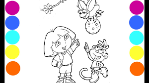 dora monkey boots and buga buga coloring book pages fun video for