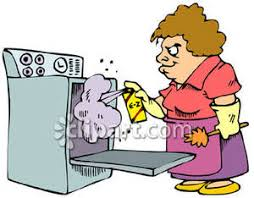 cartoon pictures of cleaning woman cleaning her oven royalty free clipart picture