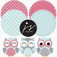 Blue Flag With Stars Baby Blue Grey Pink Owl Clipart With Digital Paper In Chevron Dots