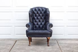 Rustic Leather Armchair Wing Back Chair Rustic Tobacco Brown Leather Accent Furniture With