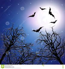 halloween bats background flock of bats above the trees at night time stock vector image