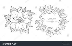 poinsettia wreath isolated christmas set collection stock vector