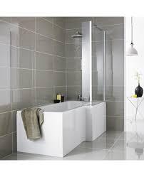 1700 x 850mm acrylic square l shaped shower bath shower screen