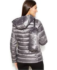 calvin klein petite hooded quilted packable down puffer coat in