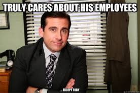 Office Boss Meme - this good guy boss may have been an idiot but he always had a big