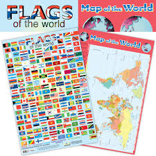 South America Flags 2 In 1 Flags And Map Of The World Chart Media