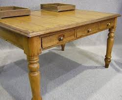 VICTORIAN PINE KITCHEN TABLE AND SIX CHAPEL CHAIRS - Victorian pine kitchen table