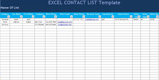 Excel List Templates Excel Contact List Template 33 Images Excel Contact List