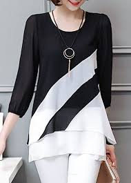 black and white blouses black and white color block 3 4 sleeve tunic top jewelry