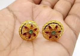 gold earrings tops 22 k yellow gold earring tops handmade design enamel