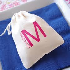 muslin favor bags monogram theme large muslin favor bag ecopartytime