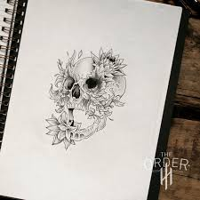 skull leaf roses sketch the order custom tattoos