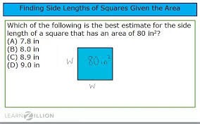 find the side lengths of a square given its area learnzillion