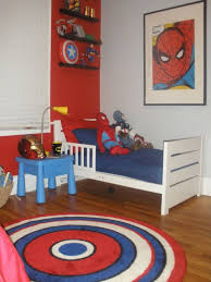 nice kids bedroom with superhero theme using wall poster and open