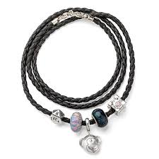 leather bracelet silver charms images Leather wrap bracelet for charms thinkgeek jpg