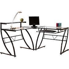 Black Glass L Shaped Desk Florence L Shaped Glass Desk Black And Clear Walmart