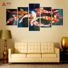 chinese home decor 5 panel canvas prints koi fish art chinese painting printed home