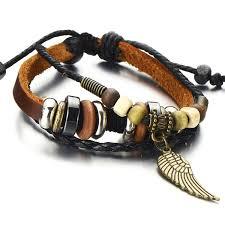 multi leather bracelet images Angel wing multi strand brown leather bracelet for men women jpg