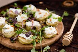 bellini canape blini with goat s cheese honey and micro greens recipes bite