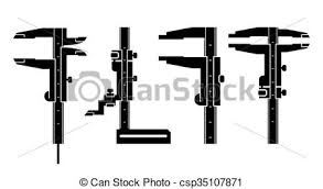vector clip art of vernier caliper tool to measure distance with