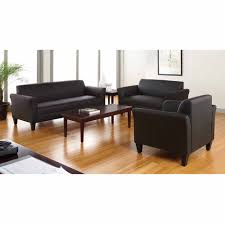 Pictures Of Living Rooms With Leather Chairs Ufe Norton Dark Brown Faux Leather 3 Piece Modern Living Room Sofa
