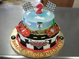 2 tier radiator springs and checkered cars cake cars themed