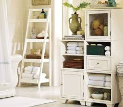 White Wooden Shelves by Small Bathroom White Wooden Shelves On The Brown Wooden Pole