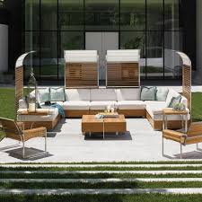 Teak Sectional Patio Furniture - tommy bahama tres chic 9 person teak patio sectional set w sun