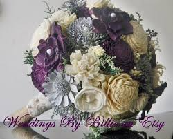 Shabby Chic Purple by Fall Bouquets Plum Gray Sola Bouquet Burlap Lace Purple Bouquet