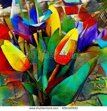 cubism flower painting bouquet beautiful flowers modern style cubism stock illustration