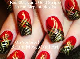 black and red gothic wedding nail art with tutorial