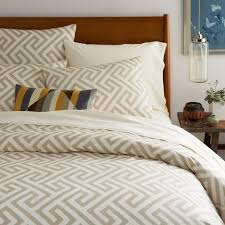 Taupe Duvet Taupe And Ivory Ikat Key Duvet Cover And Shams