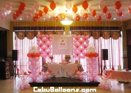 all pink balloon decoration for a u0027s christening at sugbahan