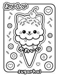 ice cream kitty coloring page