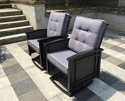 Patio Rocker Chair 2 Exclusive Aluminum Wicker Rocking Patio Chairs Black Rocking