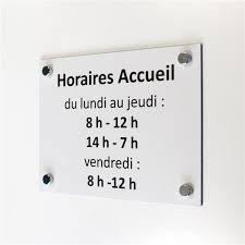 afficher l heure sur le bureau panneau horaires d accueil h 200 x l 300 mm avec vis et cache