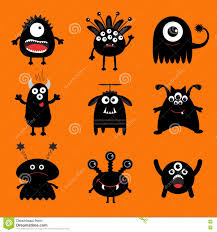 cute happy halloween pictures black monster big set cute cartoon scary silhouette character