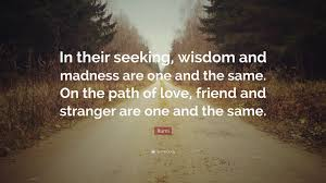 Seeking For Friendship Rumi Quote In Their Seeking Wisdom And Madness Are One And The